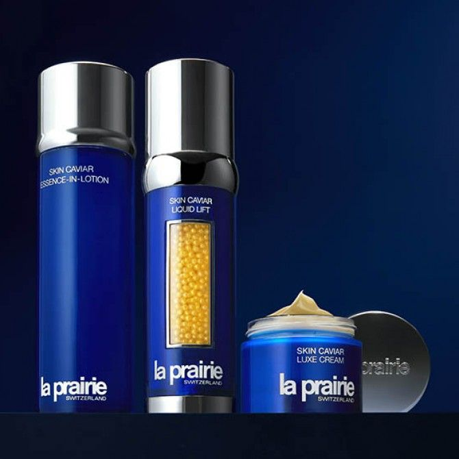 Colección Skin Caviar de La Prairie: tecnología suiza del caviar que rejuvenece la piel.